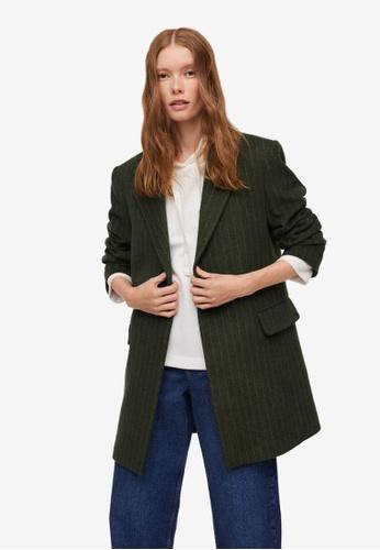 Mango green Pinstripe Coat 72F2FAA561A465GS_1