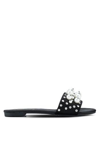 Nose black Velvet Pearl Ornament Sandals 1B87BSHADD6959GS_1