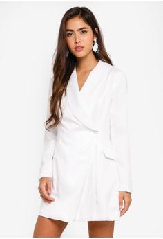 c127498c7c MISSGUIDED white Petite Asymmetric Blazer Dress 9CAF4AA63026F9GS_1