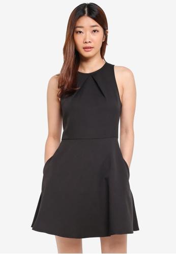 Something Borrowed black Pleat Detail Waisted Dress F7AF3AA3CFA48CGS_1