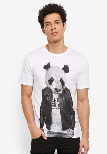 Only & Sons white Simon Funnyprint Tee 8D3C8AA513A4DEGS_1