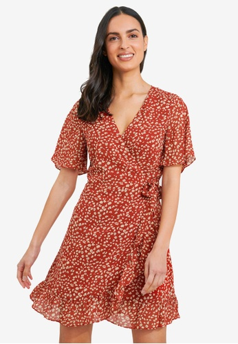 FORCAST orange Elise Floral Wrap Dress FABB6AA237F6F1GS_1
