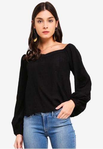 ZALORA black Sweetheart Puffed Sleeves Top 7B328AAFD336C9GS_1