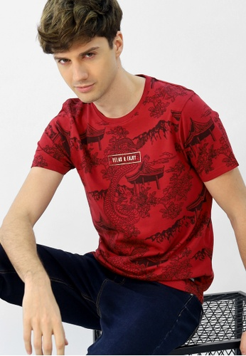 Cheetah red Cheetah CNY Short Sleeve T-Shirt With Print - 98278 9E1F1AA1858AD8GS_1