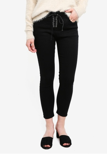 Something Borrowed black Lace Up Fly Cropped Jeans 597A8AA508C92AGS_1