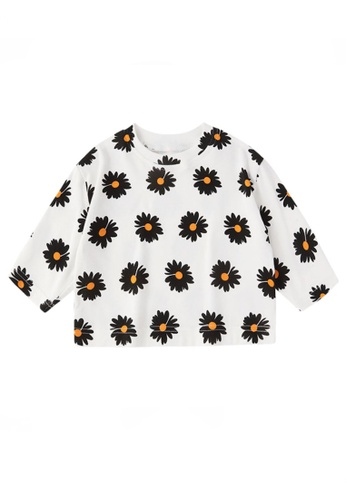 Kiddies Crew black and white and multi 2 Colours Floral Daisies Girls Baby Kids Oversized Long Sleeve Blouse Top (White) 73A33KAEBAEDB2GS_1