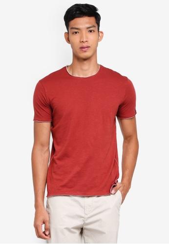Sisley 紅色 素面不收邊短袖T恤 C82BCAAFE76274GS_1