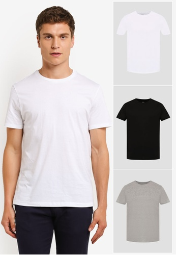 Burton Menswear London multi 3 Pack Basic T-Shirts BU964AA0ROB2MY_1
