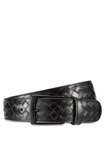 MANGO Man black Braided Leather Belt MA449AC47CIUMY_1
