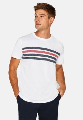 ESPRIT 白色 Jersey 條紋T-襯衫 02459AAC93C2EFGS_1