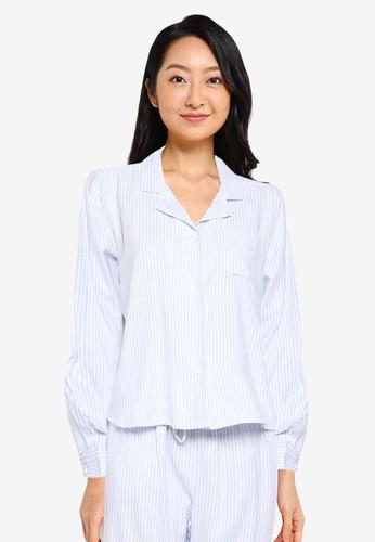 Cotton On Body blue Flannel Sleep Shirt 71F03AAD6CCCA4GS_1