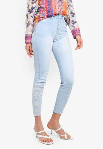 Desigual blue Skinny Embroidery Cropped Jeans F6C98AA1265CBDGS_1