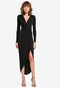 harga Slinky Plunge Wrap Long Sleeve Split Maxi Dress Zalora.co.id