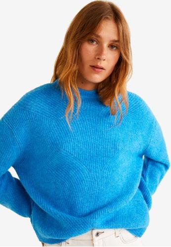 Mango blue Ribbed Knit Sweater 2A36BAA8C04FBAGS_1