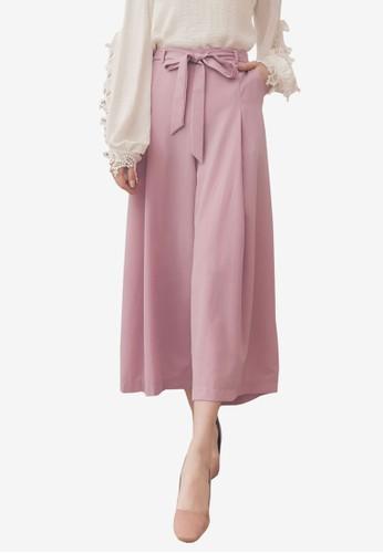 Yoco pink Tie Belt Chiffon Culottes 6B68CAA378059BGS_1