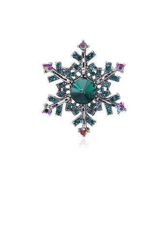 Glamorousky green Fashion Bright Snowflake Brooch with Green Cubic Zirconia 295B4AC9ECD9A5GS_1