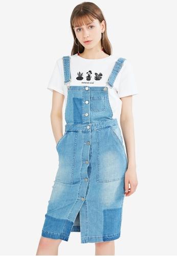 Hopeshow blue Button Down Denim Dungaree Dress 12731AAF088162GS_1