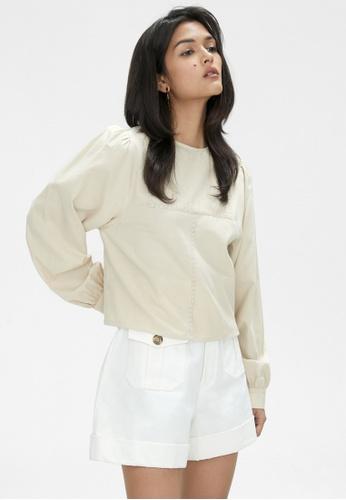 Pomelo multi Long Sleeve Cuffed Sleeve Blouse - Beige E56AFAAD6B0F49GS_1