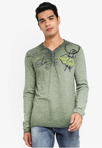 Desigual green Printed Long Sleeves T-shirt E388AAABEF4D50GS_1