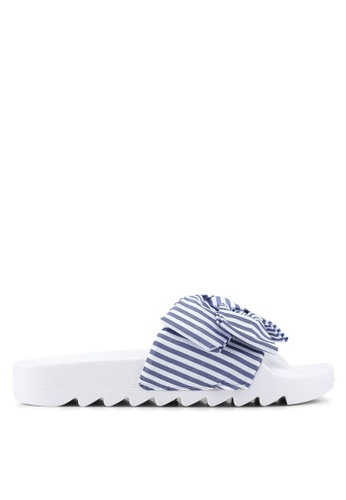OVS 白色 and 藍色 蝴蝶結條紋拖鞋 6AE61SHAA54C38GS_1