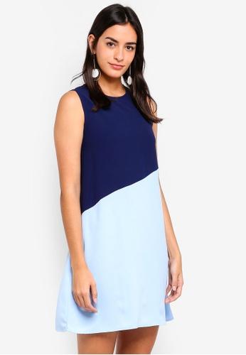 ZALORA multi and navy Colorblock Flare Dress 4D48EAAB4E620DGS_1