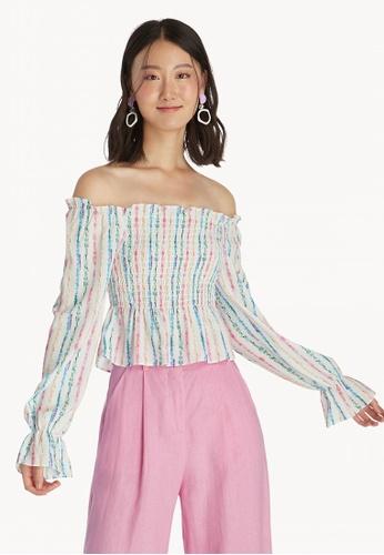 d7f2f6cb5424a Buy Pomelo Colorful Stripe Off Shoulder Top - White Online on ZALORA ...