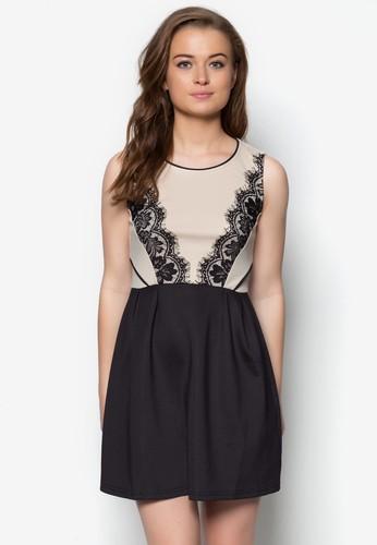 蕾絲拼貼撞色洋裝, 服飾zalora鞋, 短洋裝