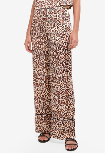 TOPSHOP brown Animal Print Trousers 34B72AA0255485GS_1