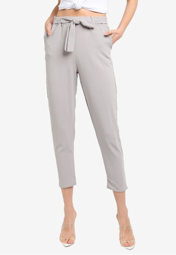 b6ace928d309ec Buy Boohoo Petite Tie Waist Tapered Trousers   ZALORA HK