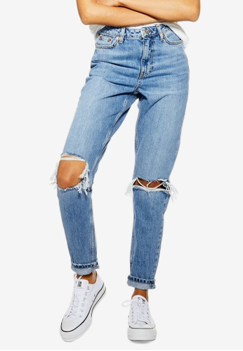 TOPSHOP blue Petite Mid Wash Double Rip Mom Jeans FBADFAAE8F7DDEGS_1