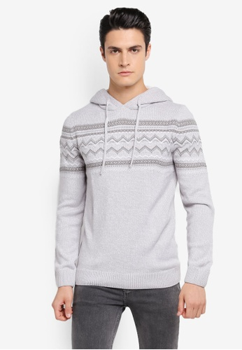 River Island grey Artic Hooded Fairilse Jumper RI009AA0SRKJMY_1