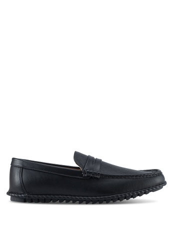 ZALORA black Faux Leather Perforated Classic Loafers 08A4DSHE7A4FBEGS_1