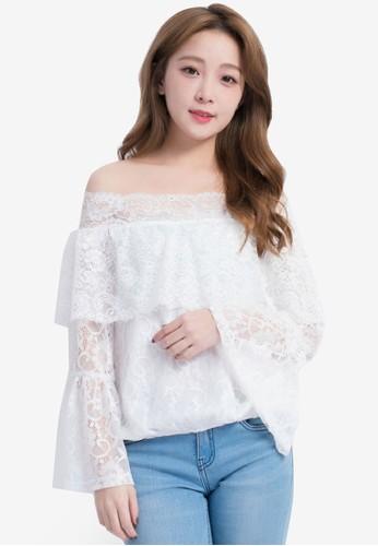Yoco white Off Shoulder Lace Top 435A6AA78DA5DFGS_1