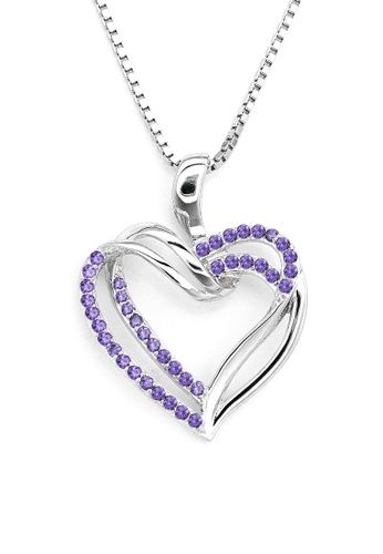 MBLife silver 925 Sterling Silver Tempting Heart Purple CZ Heart Necklace 5A218AC553A9D3GS_1