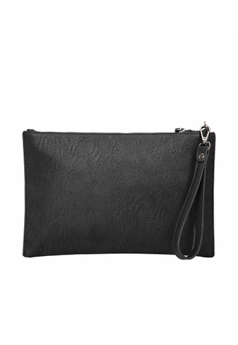 Lara black Plain Zipper Buckle Hand Bag - Black 726A7AC9D48BF9GS_1