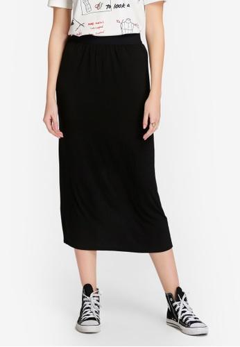 Hopeshow black Knee Length Overlapping Skirt 62D11AA9E7604AGS_1