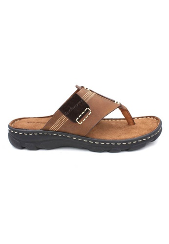 midzone brown Genuine Leather Comfortable Sandals MI949SH07RBGMY_1