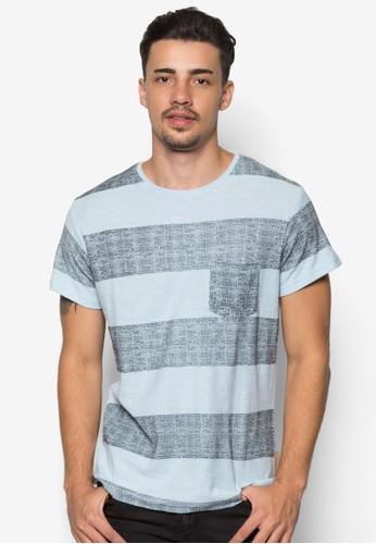 Damon 條紋口袋Tesprit tote bagEE, 服飾, 條紋T恤