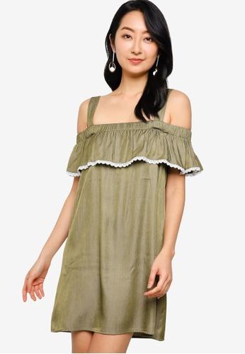 ZALORA BASICS green Embroidered Cold Shoulder Mini Dress 5962BAAB152653GS_1