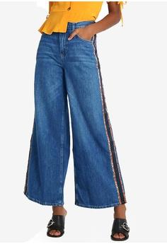 3ab66a0ddee7 TOPSHOP blue Moto Leopard Side Stripe Wide Jeans 9E45CAAA7D2E49GS 1