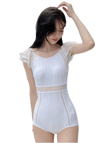 A-IN GIRLS white Sexy Gauze Hollow One-Piece Swimsuit 38E89US7DB658BGS_1