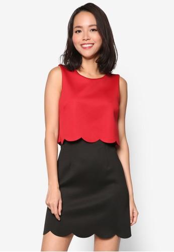 扇貝邊esprit台灣outlet層次撞色連身裙, 服飾, 服飾