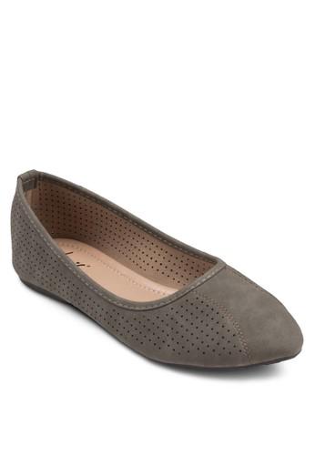 沖孔esprit taiwan休閒尖頭平底鞋, 女鞋, 鞋