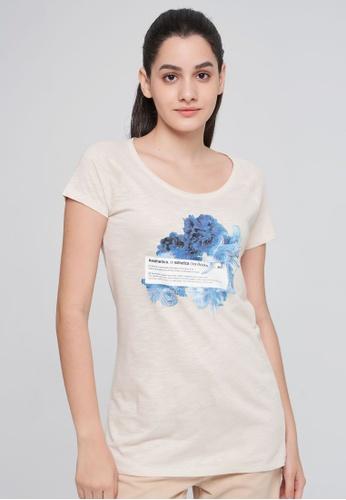 Sisley beige Printed T-shirt C3D3FAAA223887GS_1