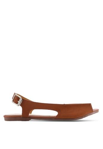 kiki brown Burnished Faux Leather Sandals KI061SH64SGPMY_1