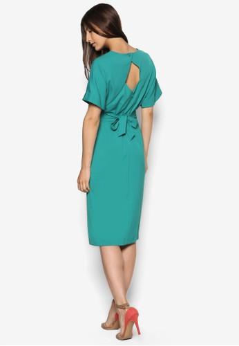 背部鏤空繫esprit品牌介绍帶連身裙, 服飾, 洋裝