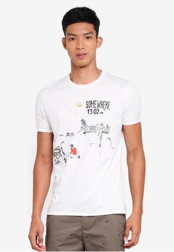 Sisley 白色 手繪機車短袖T恤 A10FDAAE70E916GS_1