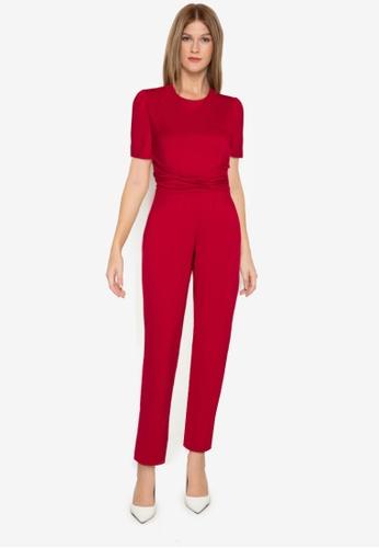 ZALORA WORK red Puff Sleeve Tie Waist Jumpsuit 9DB2FAAC83B50BGS_1