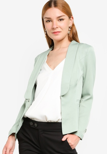 ZALORA WORK green Button Sleeve Detail Tailored Blazer 1388DAA813B8DBGS_1