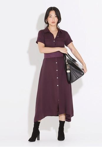 Wearstatuquo purple Alres Flowy Maxi Shirt Dress F9FC7AAF48D693GS_1